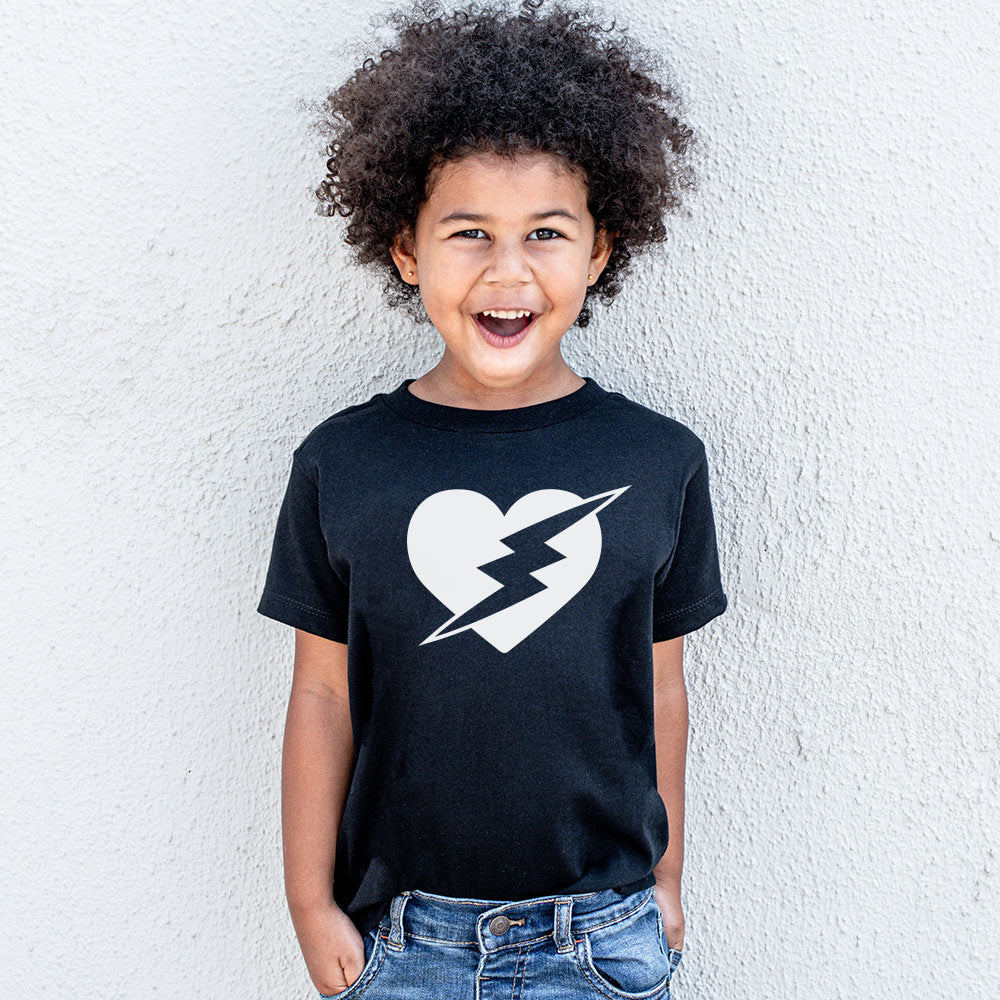 VALENTINES DAY-HEART WITH BOLT <br />youth jersey tee