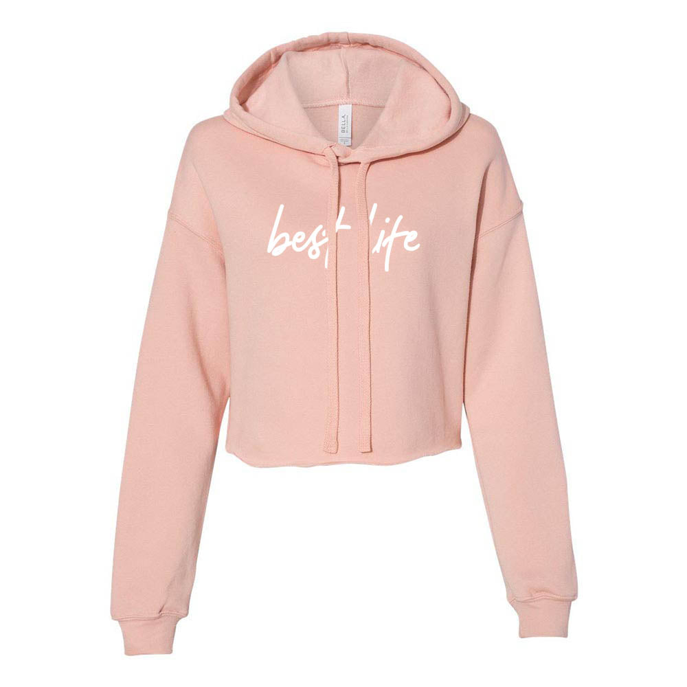 BEST LIFE SCRIPT<br/> cropped fleece hoodie <br /> classic fit