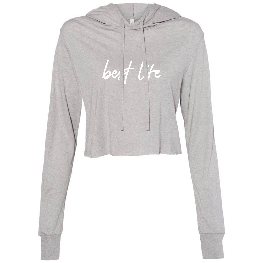 BEST LIFE script <br />  women's cropped triblend hooded tee