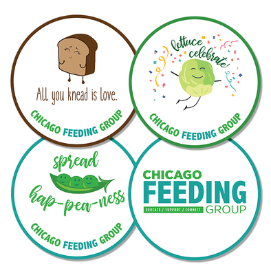 CHICAGO FEEDING GROUP FOOD PUN  Stickers