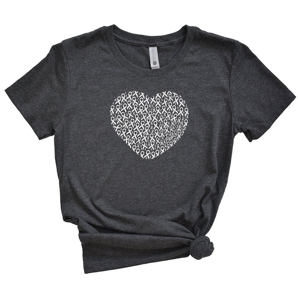 HEART OF WHITE RIBBONS - LUNG CANCER AWARENESS TEE