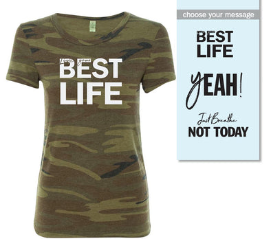 yEAHbestlife™  <br />women's camo short sleeve tee <br />alternative apparel - humanKIND shop with a purpose
