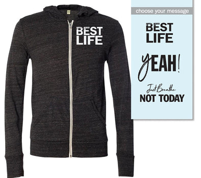 yEAHbestlife <br /> Eco-Jersey® FULL ZIP HOODIE <br />alternative apparel - humanKIND shop with a purpose
