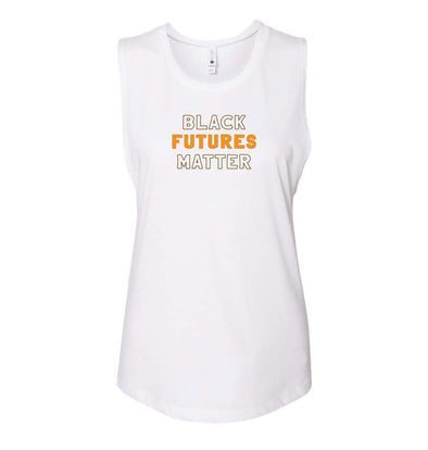 BLACK FUTURES MATTER NEXT LEVEL LADIES FESTIVAL MUSCLE TANK - humanKIND shop with a purpose