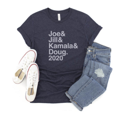 JOE & JILL & KAMALA & DOUG <br />UNISEX HEATHER TEE <br />slim fit