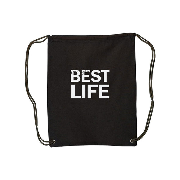 yEAHbestlife LIVE YOUR BEST LIFE<br />drawstring bag <br />liberty bags - humanKIND shop with a purpose