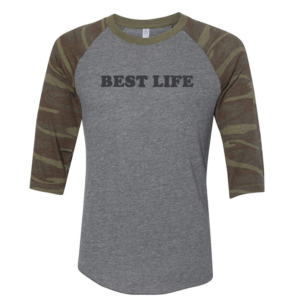 yEAHbestlife LIVE YOUR BEST LIFE unisex camo baseball tee - humanKIND shop with a purpose
