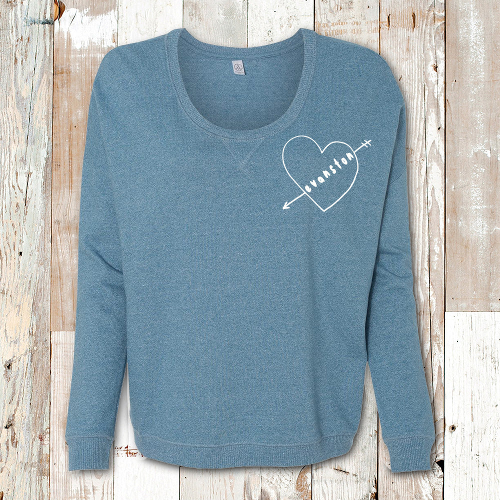 EVANSTON HEART ARROW  WOMEN'S FRENCH TERRY PULLOVER (Clearance)<br />alternative apparel - humanKIND shop with a purpose