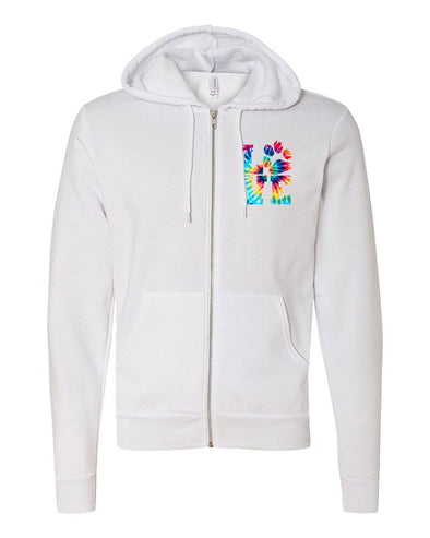 TIE DYE LOVE PAW UNISEX FLEECE FULL ZIP HOODIE <br />bella + canvas - humanKIND shop with a purpose