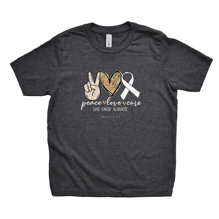 PEACE LOVE CURE - WHITE RIBBON - LUNG CANCER AWARENESS TEE