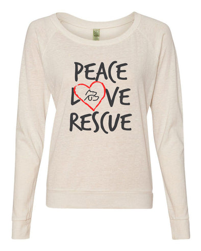 PEACE LOVE  RESCUE LADIES' SLOUCHY ECO JERSEY PULLOVER <br />alternative apparel - humanKIND shop with a purpose