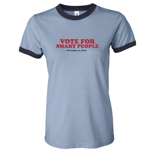 VOTE FOR SMART PEOPLE BELLA CANVAS SHORT SLEEVE RINGER <br />(unisex and women) - humanKIND shop with a purpose