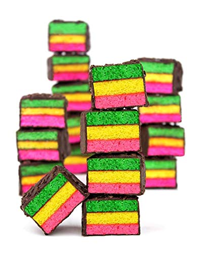 1 Lb Rainbow Cookie - Italian Rainbow Layer Cake Covered In Chocolate &Amp; Chocolate Sprinkles