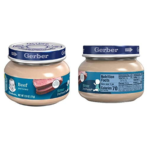 8 Glass Jars Of Gerber 2Nd Foods Beef &Amp; Beef Gravy Baby Food, 2.5 Oz. Ea