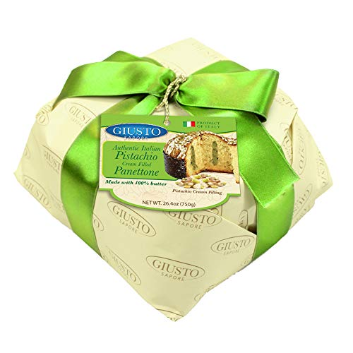 Giusto Sapore Italian Panettone Premium Pistachio Gourmet Bread 26.4 Ounce - Traditional Dessert - Imported From Italy And Family Owned