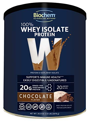 Biochem 100% Whey Isolate Protein - Chocolate Flavor - 30.9 Oz - Pre & Post Workout - Meal Replacement - Keto-Friendly - 20G Of Protein - Easily Digestible - Refreshing Taste - Easy To Mix