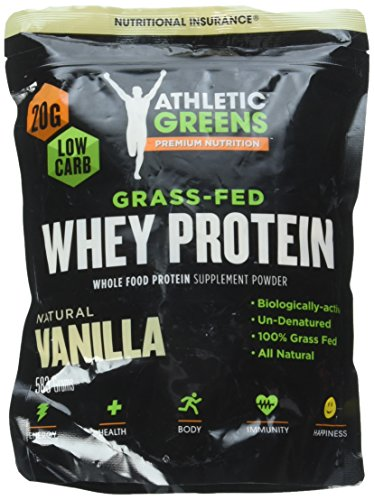 Athletic Greens 100% Grass-Fed Whey Protein Low Carb Low Sugar Natural Vanilla Flavor, 20 Grams Of Protein Per Serving, 653 G