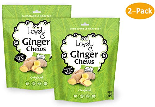 Vegan Ginger Chews  - Lovely Candy Co. (2) 5Oz Bags - Non-Gmo, Gluten Free, Vegan | Made With Real Indonesian Ginger For A Good Kick!