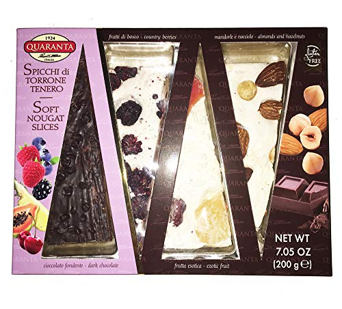 Quaranta Soft Nougat Slices 7 Oz! Gluten Free Cakes From Italy! 4 Flavors, Country Berries, Almond &Amp; Hazel, Dark Chocolate And Exotic Fruit! Tasty Soft Cake Slice!