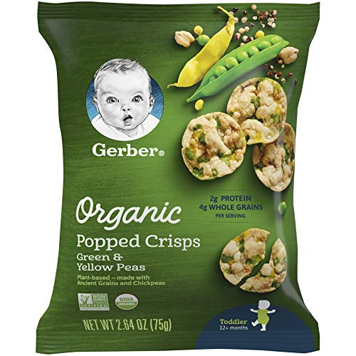 Gerber Organic Popped Crisps, Green &Amp; Yellow Peas, 2.64 Oz Bag