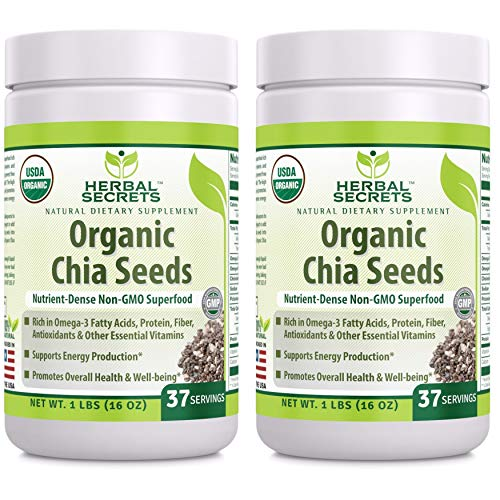 Herbal Secrets Organic Chia Seeds Nutrient - Dense Non-Gmo Super Food Usda Certified Organic 1 Lb -- Supports Energy Production Supports Overall Health And Well Being