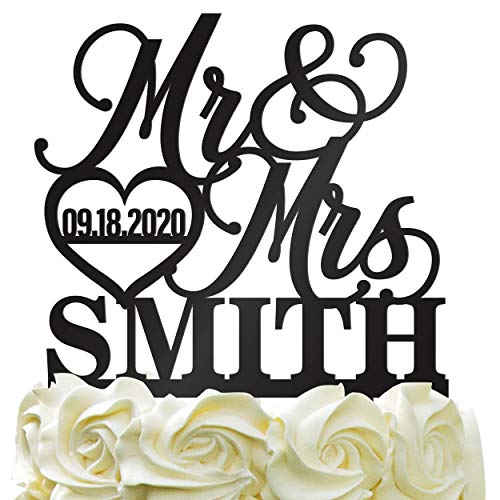 Personalized Wedding Cake Topper - Wedding Cake Decoration Elegant Customized Mr-Mrs, Last Name &Amp; Date With Heartcolor Acrylic