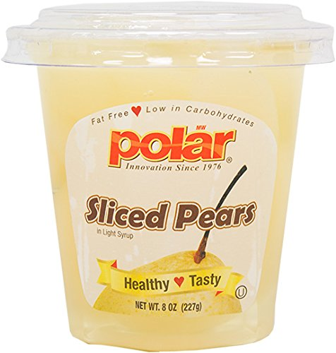 Mw Polar Fruit Cup, Sliced Pears In Light Syrup With Spork, 8-Ounce
