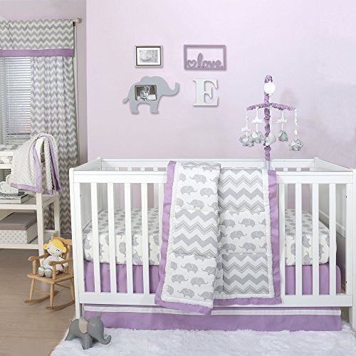 Grey Elephant And Chevron Patchwork 4 Piece Crib Bedding Set With Purple Trim