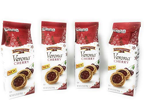 Pepperidge Farm Verona Cherry Cookies - Limited Edition Holiday Cookies - Bags - 6.75 Oz Per Bag (Verona Cherry, 4 Bags)