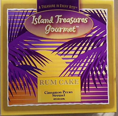 Island Treasures Rum Cake Cinnamon - Pecan Streusel - 32 Oz U.S. Made Cakes - Smooth - Moist Authentic - Full Flavored - The Best Gourmet Treat (Itg Cps 32)