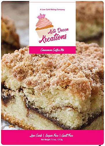 Keto Queen Kreations, Low Carb (1 Net), Sugar Free, Keto, Cinnamon Coffee Cake Mix 7.5 Oz. (12 Servings)