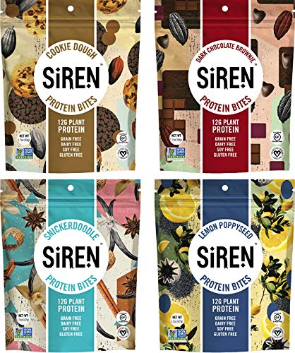 Siren Snacks Variety Pack, 1.7 Oz Bags  Includes Flavors Cookie Dough Protein Bites, Dark Chocolate Brownie Protein Bites, Lemon Poppyseed Protein Bites, And Snickerdoodle