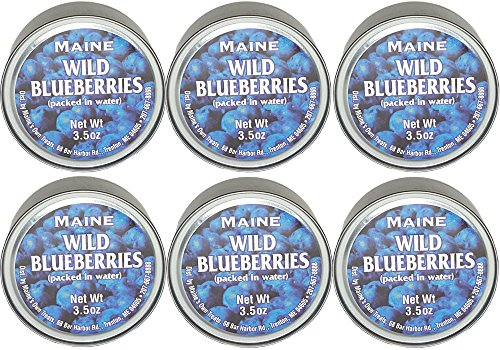 Authentic Wild Maine Blueberries Packed In Water. 3.5-Ounce Can - Great For Baking In Muffins And Pancakes
