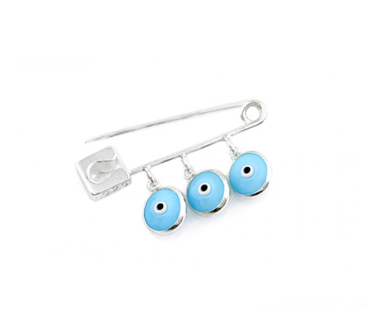 Triple Mati baby pin - light blue
