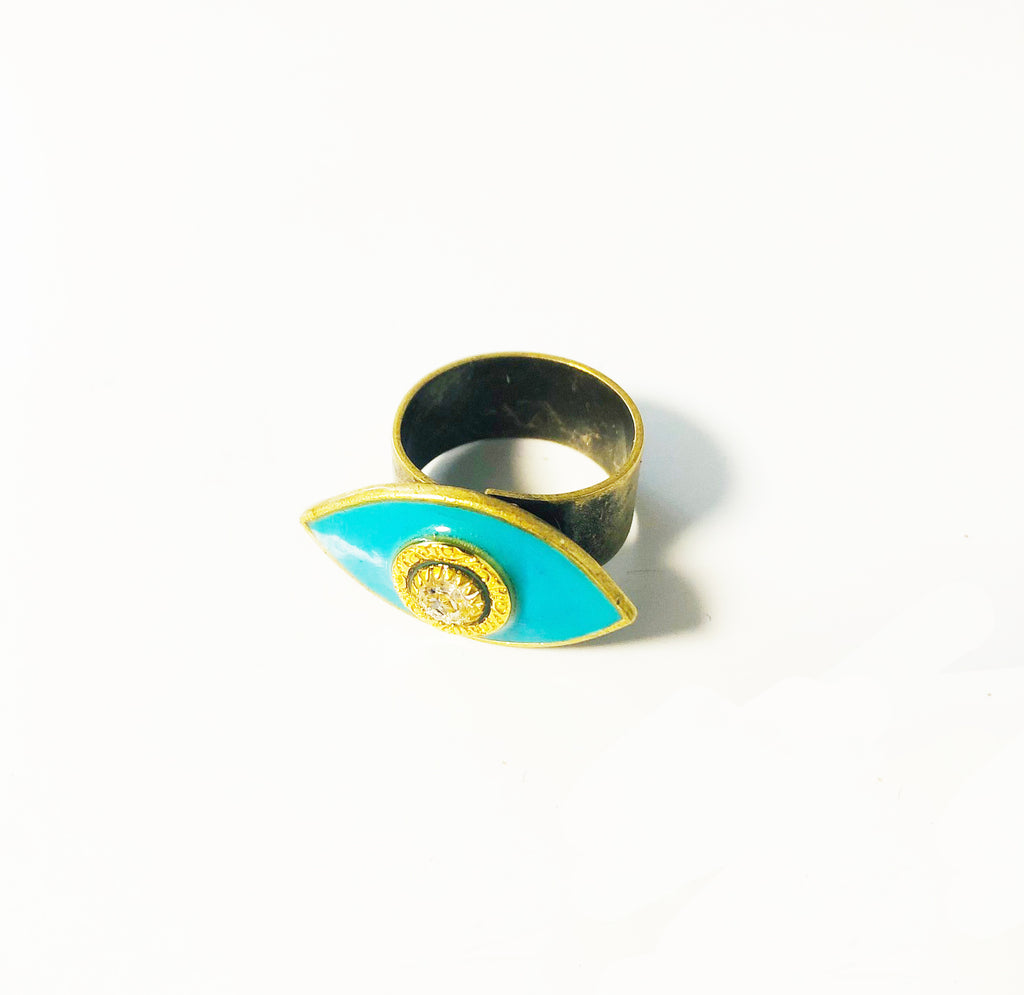 Aqua Enamel & Gold Evil Eye Ring