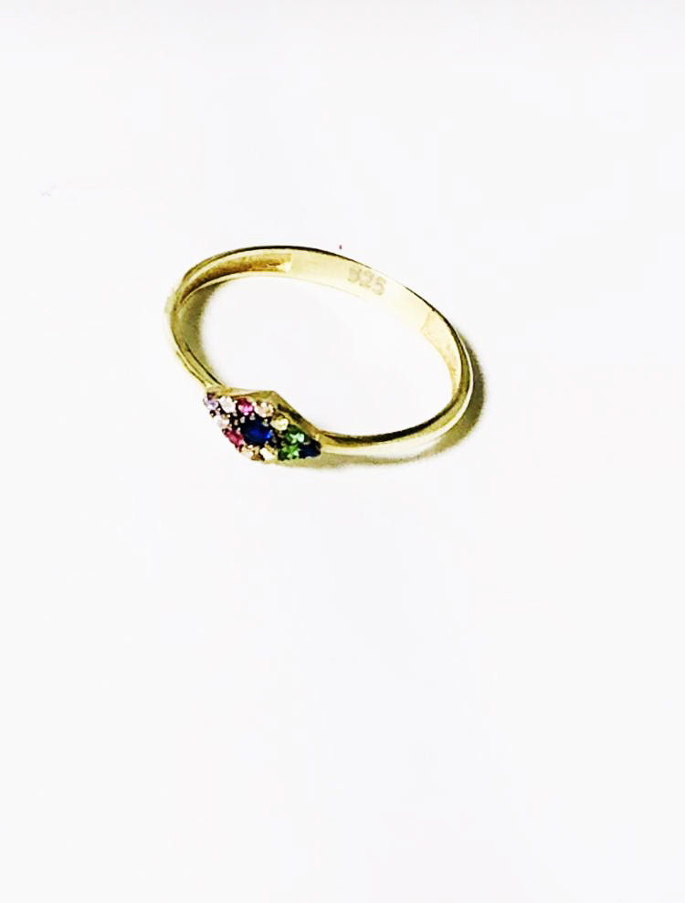 Rainbow Crystal Stackable Mati Ring