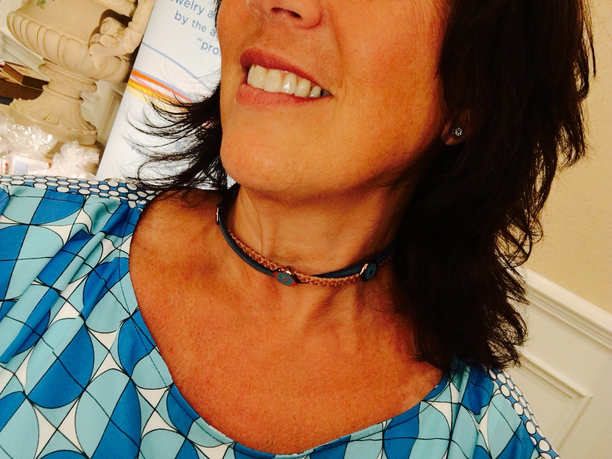 Bronze and blue leather wrap versatile choker and bracelet