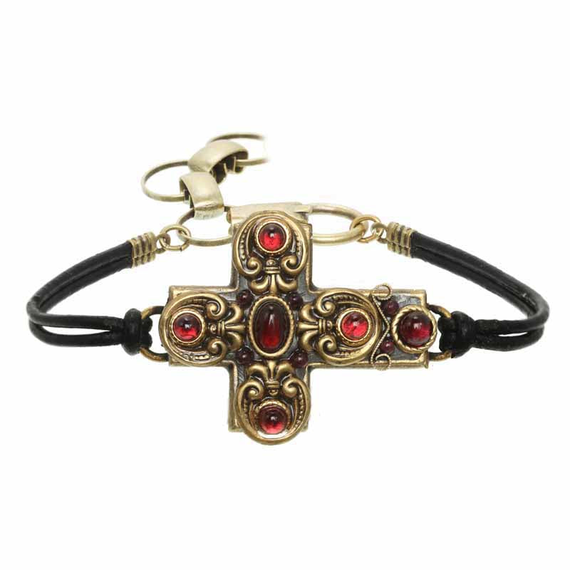 Royal Garnet Cross Bracelet