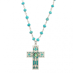 Silver Turquoise Cross Necklace