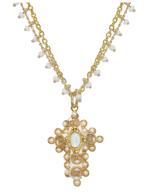 Ornate Pearl Cross Necklace