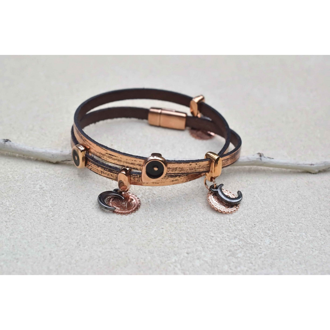 Bronze Moon and Eye wrap bracelet