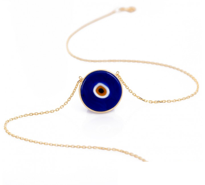 Cobalt Earthy Eye Necklace - Gold Plate