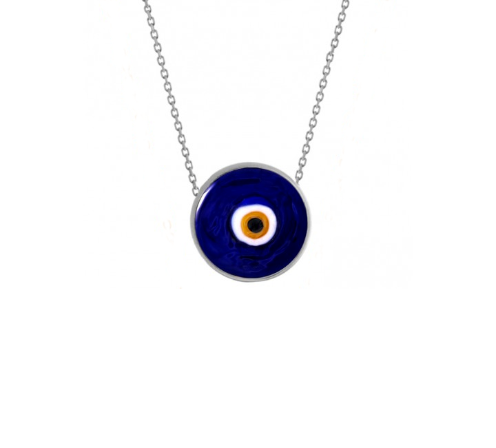 Cobalt Earthy Eye Necklace - White Silver
