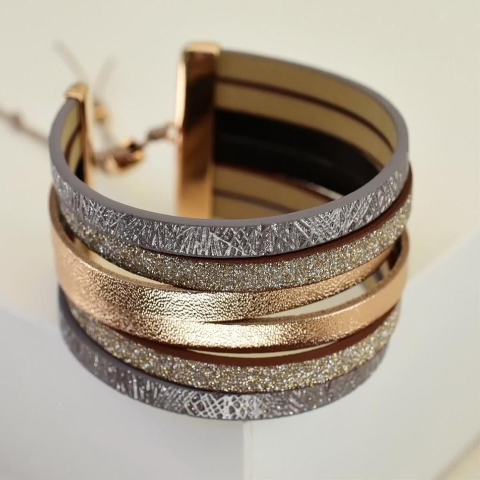 Bronze Leather cuff bracelet