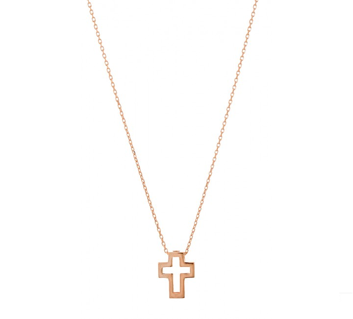 Gold Open Cross Necklace
