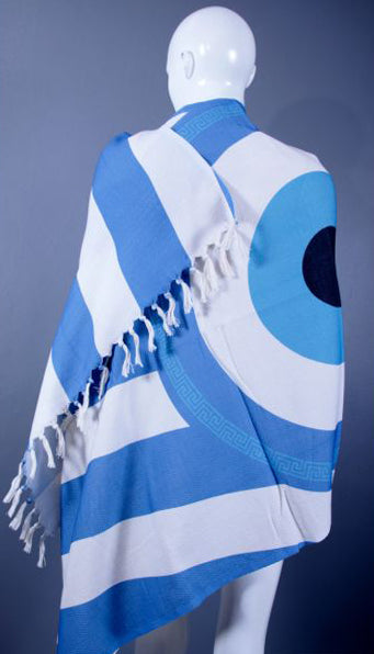 Greek Flag Evil Eye Beach Towel and Pareo