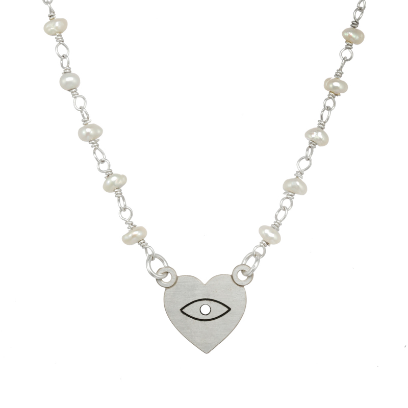 Silver Pearl Eye Heart Necklace