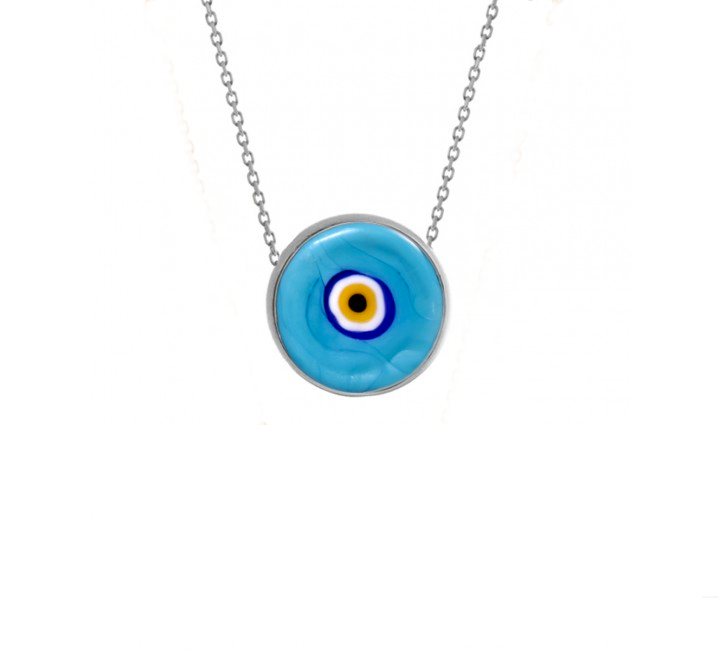 Light Blue Earthy Eye Necklace