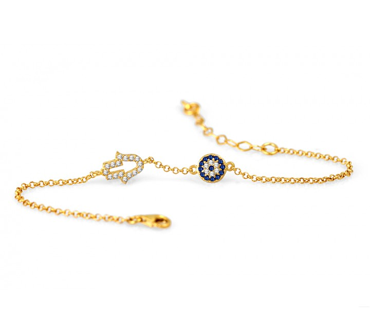 Mini Hamsa Eye celebrity bracelet - gold