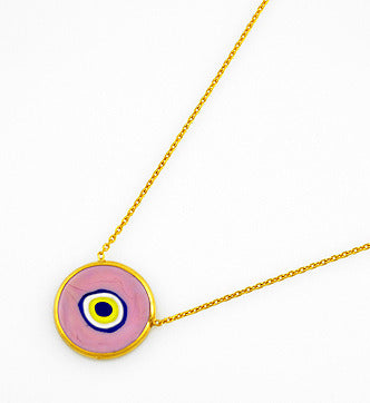 Pink Earthy Eye Necklace